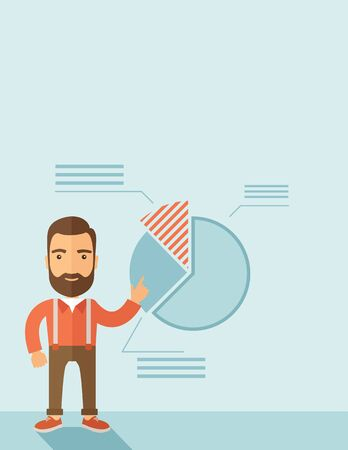 the reporting: The man with a beard presenting his report through infographics. Reporting concept. Vector flat design illustration. Vertical layout with a text space in a top. Illustration