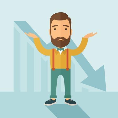 crisis economica: El hombre con una barba con la caída de la carta es confusa. Concepto de quiebra. Vector diseño plano ilustración. Vectores