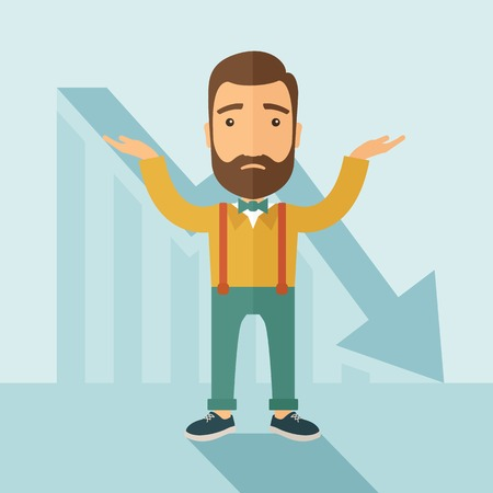 sad cartoon: The man with a beard with falling down chart is confused. Bankruptcy concept. Vector flat design illustration.