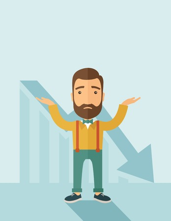 caucasian man: The man with a beard with falling down chart is confused. Bankruptcy concept. Vector flat design illustration. Vertical layout with a text space in a top. Illustration