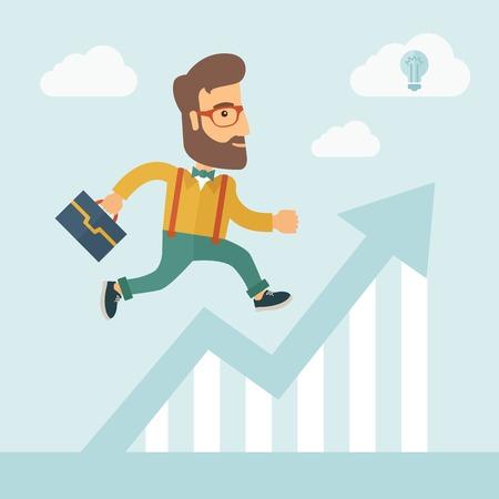 Les hommes d'affaires avec la barbe est en cours d'exécution sur tableau croissante. Perspective Idea concept. Vector design plat Illustration.