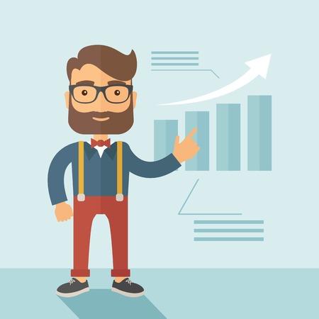 El hombre con una barba presentar su informe a través de la infografía. Informes concepto. Vector diseño plano ilustración. Vectores