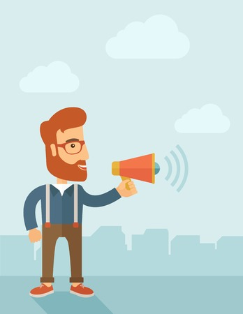bossy: The businessman with a beard shouting in megaphone. Social media marketing concept.  Vector flat design illustration. Vertical layout with a text space in a top. Illustration