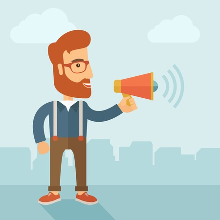 The businessman with a beard shouting in megaphone. Social media marketing concept.  Vector flat design illustration.