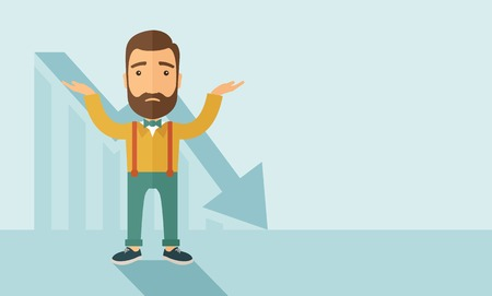 The man with a beard with falling down chart is confused. Bankruptcy concept. Vector flat design illustration. Horizontal layout with a text space in a right. Illusztráció