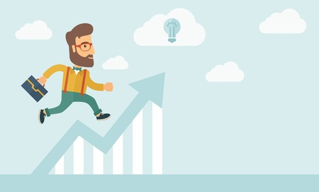 The businessmen with beard is running over growing chart. Perspective Idea concept. Vector flat design Illustration. Horizontal layout with a text space in a right. Illustration