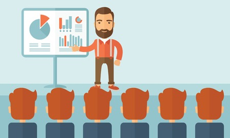The man with a beard presenting his report through infographics in office. Reporting concept. Vector flat design illustration. Vertical layout with a text space in a top right corner.