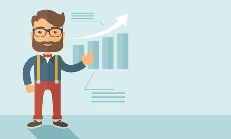 The man with a beard presenting his report through infographics. Reporting concept. Vector flat design illustration. Horizontal layout with a text space in a right.