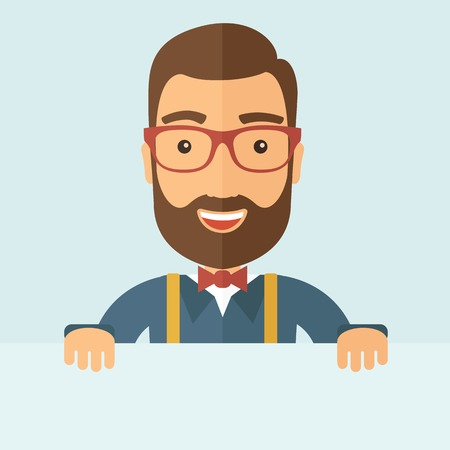 The man with a beard holding board. Vector flat design illustration. Vettoriali