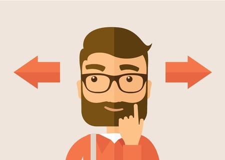 persona confundida: El hombre con un pensamiento de la barba de elecci�n. Concepto Decisi�n. Vector dise�o plano ilustraci�n. Dise�o Horyzontal.