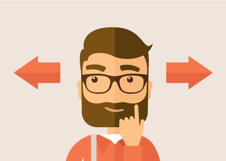 confused cartoon: The man with a beard thinking of choice. Decision concept. Vector flat design illustration. Horyzontal layout. Illustration