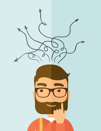 worker cartoon: The man with a beard thinking of choice. Decision concept. Vector flat design illustration. Vertical layout.