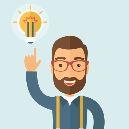 The businessman with a beard pointing to the bulb. Idea concept.  Vector flat design illustration.