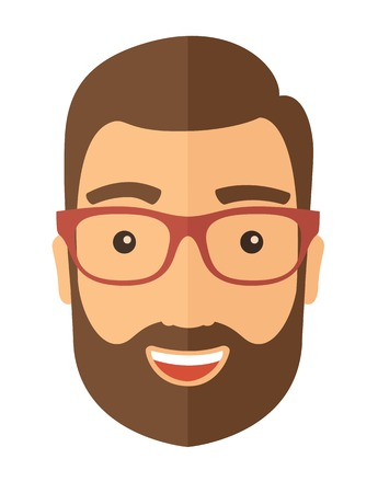 goatee: The hipster with a beard in glasses. Avatar isolated on white. Vector flat design illustration.