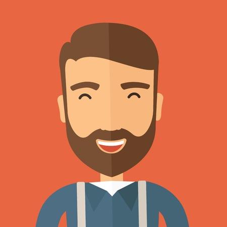 De hipster met een baard is lachen. Leuk concept. Vector platte ontwerp illustratie.