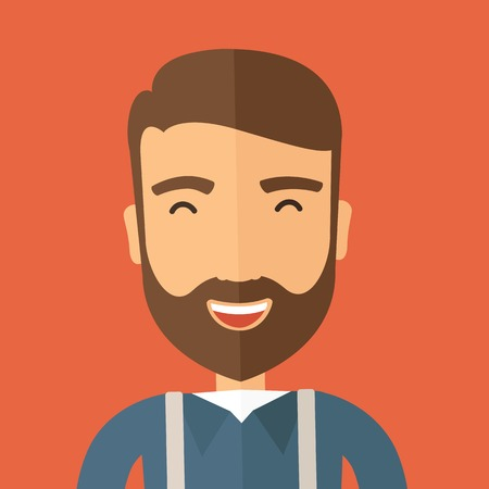 caucasian man: The hipster with a beard is laughing. Fun concept. Vector flat design illustration.