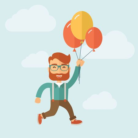 wealth: Young hipster with a beard is flying in blue sky holding group of colored balloons. Freedom concept. Vector flat design illustration. Illustration