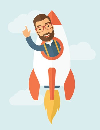 Young hipster with a beard inside the rocket on launch of space. Startup concept. Vector flat design illustration.