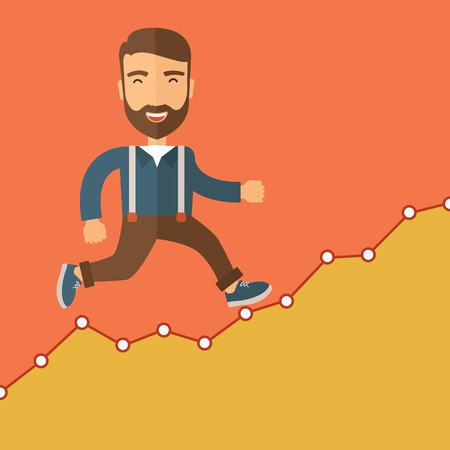 The businessmen with beard is running over growing chart. Business in action concept. Vector flat design Illustration.