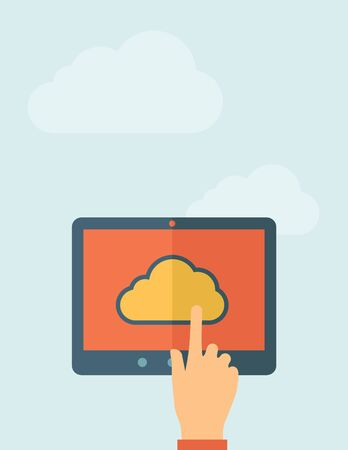Finger touching cloud on a tablet touch screen. Cloud computing concept. Vector flat design Illustration. Horizontal layout with a text space in a top.