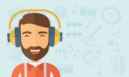 The hipster with a beard is listenning to music. Fun concept. Vector flat design illustration. Horizontal layout with a text space in a right. Vettoriali