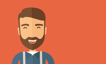 The hipster with a beard is laughing. Fun concept. Vector flat design illustration. Horizontal layout with a text space in a right. Vector