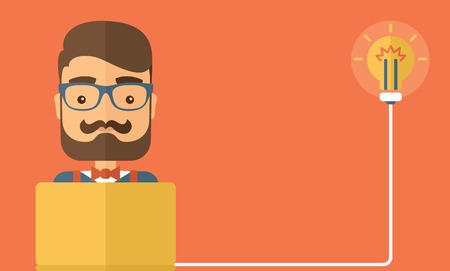 The Businessmen with beard has an idea. Idea concept. Vector flat design Illustration. Horizontal layout with a text space.