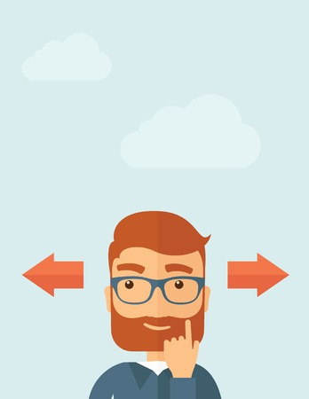 The man with a beard thinking of choice. Decision concept. Vector flat design illustration.  Vertical layout with a text space in a top. Vector