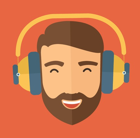 The hipster with a beard is listenning to music. Fun avatar concept. Vector flat design illustration.