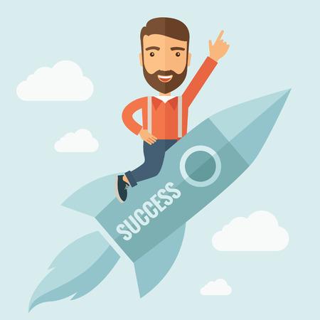 L'homme avec une barbe de vol sur la fusée en levant la main en l'air. Success concept. Vector design plat Illustration.