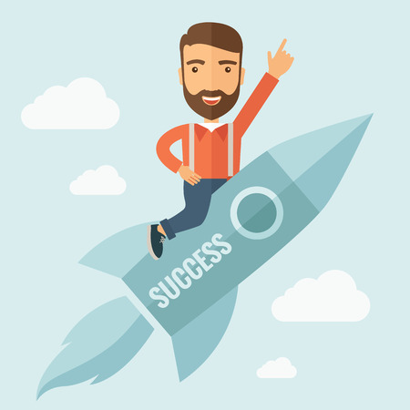 The man with a beard flying on the rocket raising his hand in the air. Success concept. Vector flat design Illustration.