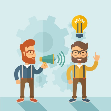 beginnings: Enthusiastic young hipster Caucasian men with beard who have a good business idea. Man on the left is holding a megaphone and  man on the right has a brilliant plan for their business. Delivering a business idea concept. A contemporary style with pastel p Illustration