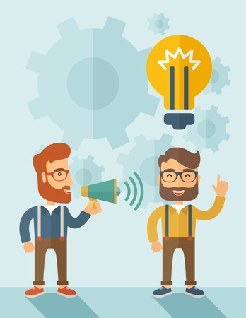 Enthusiastic young hipster Caucasian men with beard who have a good business idea. Man on the left is holding a megaphone and  man on the right has a brilliant plan for their business. Delivering a business idea concept. A contemporary style with pastel p Illustration