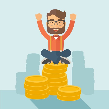 An overjoyed young hipster Caucasian man with beard sitting on the top of  coins. Happily raising his two hands to show that he is a winner. Happy, winner concept. A contemporary style with pastel palette, soft  blue tinted background. Vector flat design