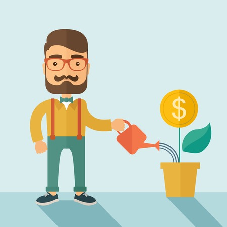 A  Stockholder, investor hipster Caucasian businessman with beard happily watering a plant with a dollar sign on the top of it. Career, investor concept.  A contemporary style with pastel palette soft blue background. Vector flat design illustration . Squ