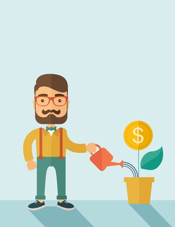 A  Stockholder, investor hipster Caucasian businessman with beard happily watering a plant with a dollar sign on the top of it. Career, investor concept.  A contemporary style with pastel palette soft blue background. Vector flat design illustration . Ver