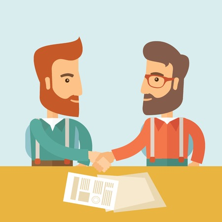 signing: Two successful hipster Caucasian businessmen with beard handshaking. Hipster businessmen on a meeting signing the agreement with papers on the table. Partnership, leadership concept. A contemporary style with pastel palette, soft blue tinted background. V Illustration