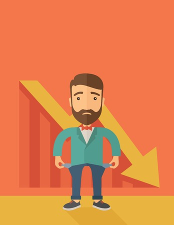 worthless: Unhappy, sad Caucasian hipster businessman with beard wearing a red bow tie standing with empty pockets. An arrow pointing downward showing that he is a failure. Loser, broke concept. A contemporary style with pastel palette, orange tinted background. Vec