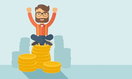 An overjoyed young hipster Caucasian man with beard sitting on the top of coins. Raising his two hands to show that he is a winner. Happy, winner concept. A contemporary style with pastel palette, soft  blue tinted background. Vector flat design illustrat