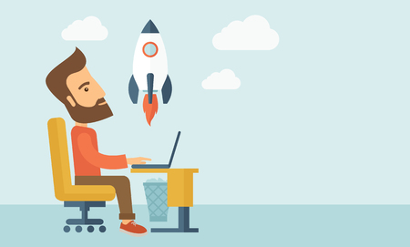 An enthusiastic, eager hipster Caucasian young man with beard sitting in front of his laptop browsing, researching  and planning a metaphor for new business. On-line start up business concept. A Contemporary style with pastel palette, soft blue tinted bac Vector