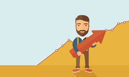 A lucky young  hipster Caucasian man with beard  carrying a red arrow pointing upward showing for his successful plan in business.  Business growth, prosperity concept. A contemporary style with pastel palette, yellow and blue tinted background. Vector fl