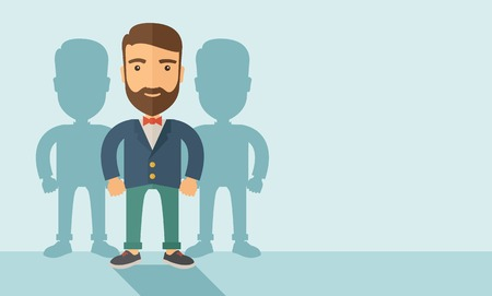 A confidently, contented young Caucasian hipster man with beard  happily standing showing that he is successful in life about teambuilding sprite. Happy, winner concept. A contemporary style with pastel palette, soft blue tinted background. Vector flat de
