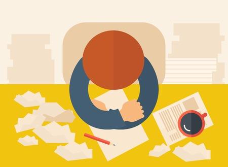 pluma y papel: Un escritor est� sentado frente a la mesa frente a pensar a la baja sobre qu� escribir con su pluma, papel y el caf� a su lado. La escritura y el pensamiento conceptual. Un estilo contempor�neo con la paleta de colores pastel, fondo beige tintado. Vector de dise�o plano illustrati