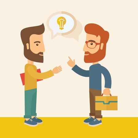 Two hipster Caucasian friends with beard standing  planning and sharing brilliant ideas with their hands raising on what kind of business they want to build up.  Human intelligence concept. A contemporary style with pastel palette, soft  pink tinted backg Vector