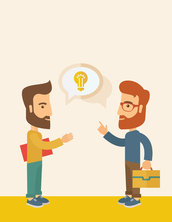 human kind: Two hipster Caucasian friends with beard standing  planning and sharing brilliant ideas with their hands raising on what kind of business they want to build up.  Human intelligence concept. A contemporary style with pastel palette, soft  pink tinted backg