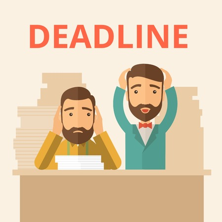 project deadline: Two sad face hipster Caucasian gentlemen with beard has a big problem because they failed to submit their project  on the deadline with their  two hands raising up. Disappointed, miserable concept. A contemporary style with pastel palette, beige tinted ba
