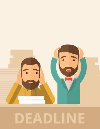 perişan: Onlar onların elleri yetiştirme ile zamanında kendi projesini sunmak başarısız çünkü sakallı iki üzgün yüz yenilikçi Kafkas beyler büyük bir sorunu var. Hayal kırıklığı, sefil bir kavram. Pastel paleti ile çağdaş tarzı, renkli arka plan bej. Vektör Çizim