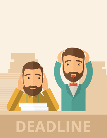 Two sad face hipster Caucasian gentlemen with beard has a big problem because they failed to submit their project  on time with thier hands raising. Disappointed, miserable concept. A contemporary style with pastel palette, beige tinted background. Vector