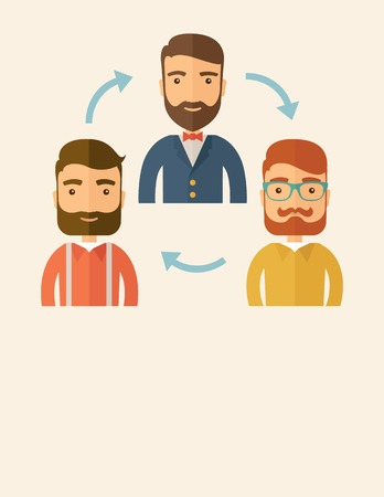 exchanging: Three happy Caucasian employees with beard communicating and exchanging ideas each other for them to  come up a good marketing strategy before they will present it. Teamwork and gathering ideas concept. A contemporary style with pastel palette, beige tint Illustration