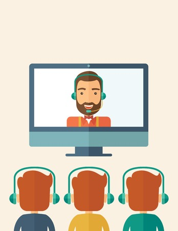 three men: A happy Caucasian businessman in a monitor with beard giving a business presentation with three men infront of him wearing their headphones . Business presentation concept. A contemporary style with pastel palette, beige tinted background. Vector flat des